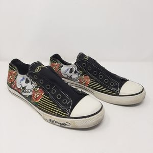 Ed Hardy Skull & Roses No Lace Sneakers Size 9